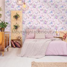 Botanical Butterfly Pink wallcovering Dutch First Class Vintage- Old wallpaper