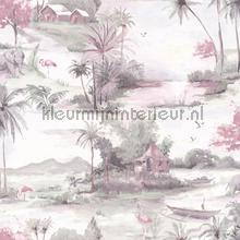 horizon Dusky pink Grey wallcovering Dutch First Class Glasshouse 90310