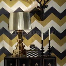 Glitterati Chevron - Black & Gold wallcovering Arthouse Glitterati 892300