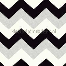Glitterati Chevron - Black & Platinum wallcovering Arthouse Glitterati 892301