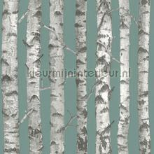 Berkenbomen petrol behang Esta home Trendy Hip