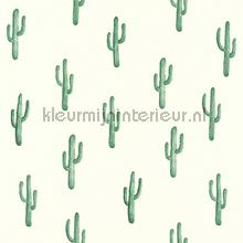 Kleine cactussen donkerder groen behang Esta home Trendy Hip