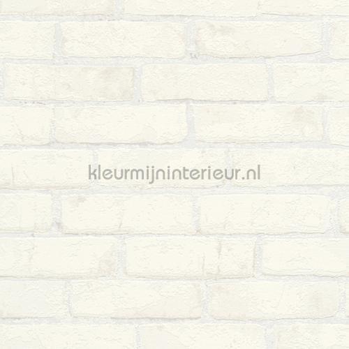 Witte bakstenen met metallic touch behang 907851 High Rise AS Creation