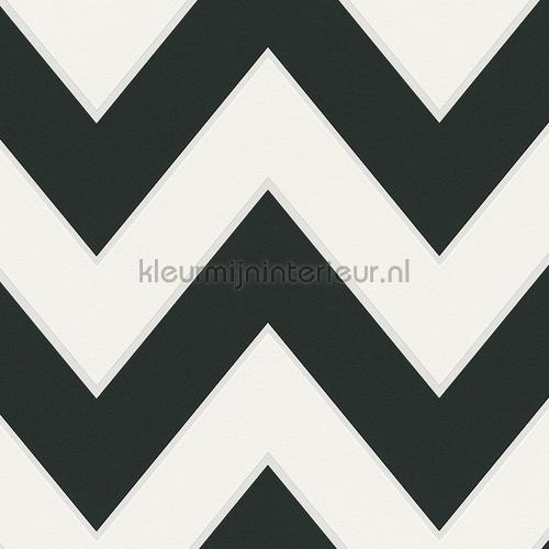 Zig zag lijnen zwart wit behang 939431 High Rise AS Creation
