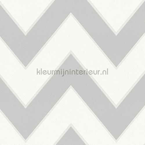 Zig zag lijnen grijs wit behang 939435 High Rise AS Creation
