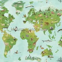 Wereldkaart behang 351700 Interieurvoorbeelden behang Eijffinger