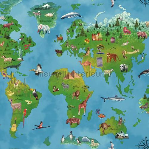 Wereldkaart behang blauw 351701 Interieurvoorbeelden behang Eijffinger