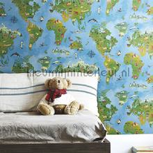Wereldkaart behang blauw wallcovering Eijffinger Hits 4 Kids 351701