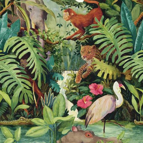 Jungle dieren brede rand behang 351706 Interieurvoorbeelden behang Eijffinger