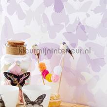 Vlindervallei paars behang Eijffinger meisjes