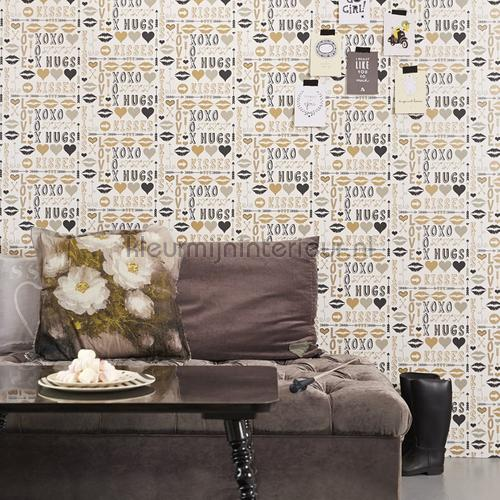 Hugs and kisses goud behang 351754 Interieurvoorbeelden behang Eijffinger