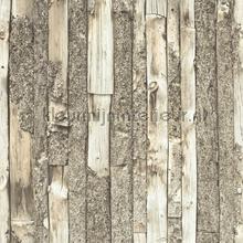 Houtstroken wand met schors behang Dutch Wallcoverings hout