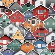 Kleurrijke houten huizen tapeten Dutch Wallcoverings Home L30710