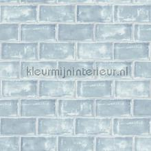 Lichtblauwe tegels behang Dutch Wallcoverings Keuken