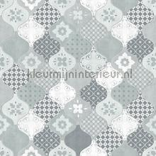Patchwork golftegels wallcovering L40401 girls Dutch Wallcoverings
