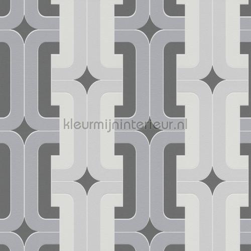 Retro gevlochten blok patroon behang 804805 Interieurvoorbeelden behang Rasch