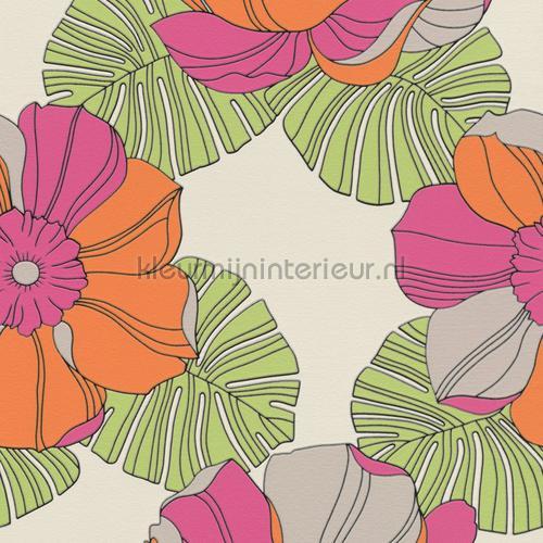Grote retro bloemen behang 804911 Interieurvoorbeelden behang Rasch