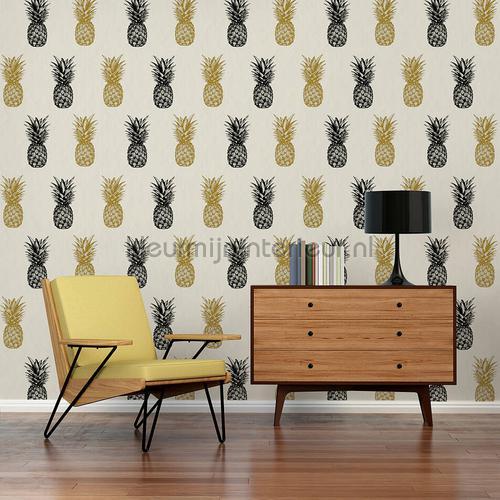 Ananas behang turquoise goud papel pintado 35997-2 interiors AS Creation
