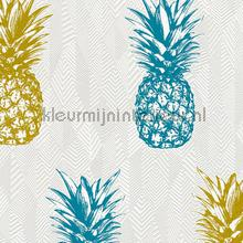Ananas behang turquoise goud papel de parede AS Creation Wallpaper creations