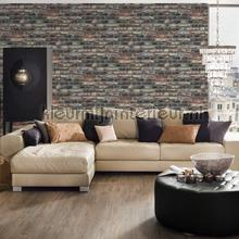 Baksteen muur donker met lichtaccenten wallcovering AS Creation wood