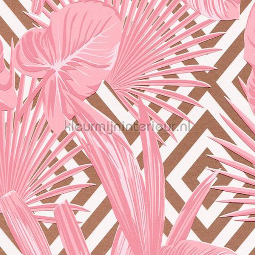 Botanisch en grafisch tegelijk roze brons papel pintado 36811-1 interiors AS Creation