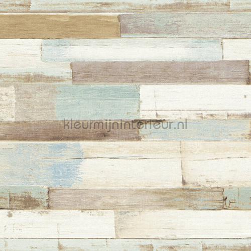 Dwarse houtplankjes tapet 36857-1 Cottage AS Creation