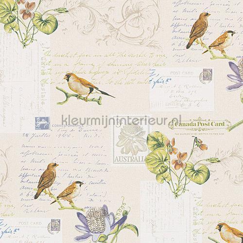 Brieven en vogeltjes tapet 95948-2 romantisk moderne AS Creation