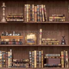 Boekenplanken oude boeken tapet Dutch Wallcoverings Vintage Gamle