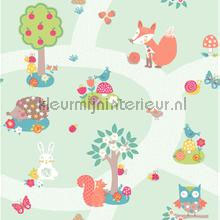 Forest friends - mint wallcovering Arthouse all-images