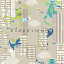 Monster madness - green and teal wallcovering Arthouse all-images