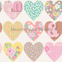 Patchwork hearts - cream wallcovering Arthouse all-images