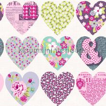Patchwork hearts - purple wallcovering Arthouse all-images