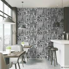 City architecture motif XL rol behang AdaWall Indigo 4705-2