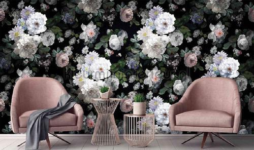 White romatic flowers black background fotobehang m701 Indigo AdaWall