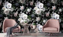 White romatic flowers black background papier murales AdaWall Indigo m701