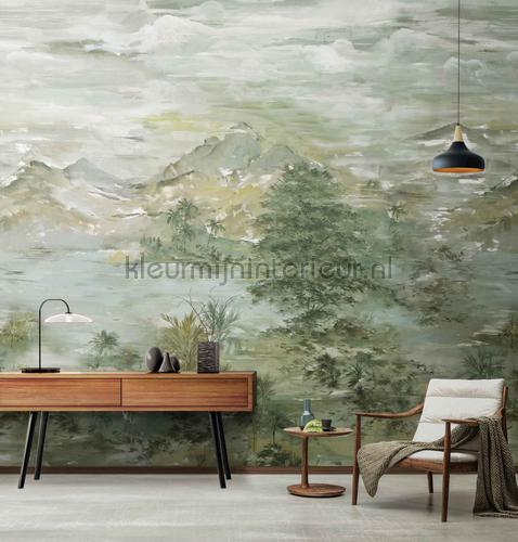 Chinese watercolor landscape fotobehang m702 Indigo AdaWall