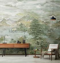 Chinese watercolor landscape papier murales AdaWall Forêts