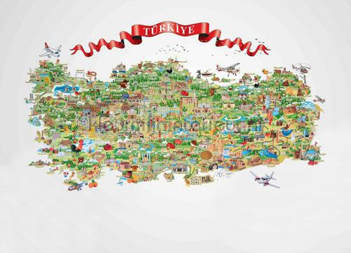 Map of Turkey fotobehang m705 Indigo AdaWall