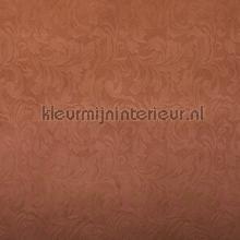 Suedine damast relief terrabruin behang Rodeka natuurlijke materialen