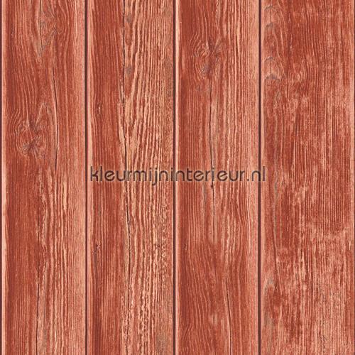 Gebeitste planken rood carta da parati J86810 legno Dutch Wallcoverings