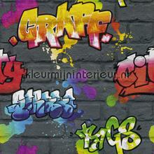 Kleurrijke graffity tapeten Rasch Kids and Teens II 237801