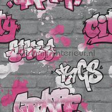 Zilveren bakstenen met graffity behang Rasch meisjes