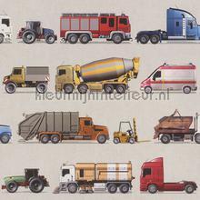 Vrachtwagens behang Rasch jongens