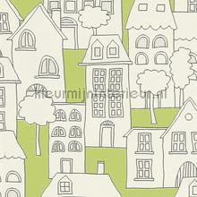 Huizen limegroene achtergrond behang Rasch Kids and Teens II 503456