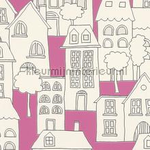 Huizen roze achtergrond tapeten Rasch Kids and Teens II 503463