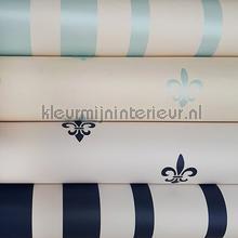 Frans stijl met lelies in blauw wallcovering Kleurmijninterieur wallpaperkit