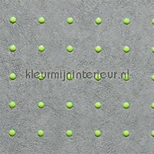 Dots licht groen op grijs behang Arte Le Corbusier 31006