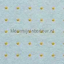 Dots oker geel op licht blauw behang Arte Le Corbusier 31015