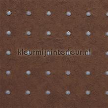 Dots grijs op warm bruin behang Arte Le Corbusier 31032