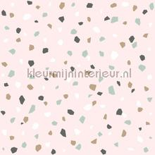 Behang terrazzo zacht roze papel pintado Esta for Kids Wallpaper creations